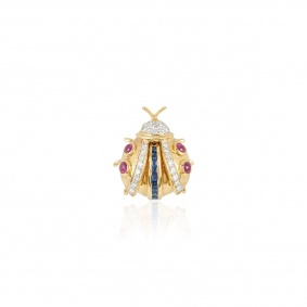 Yellow Gold Diamond, Sapphire and Ruby Ladybird Brooch